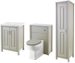 Old London Furniture 600mm Vanity, 600mm WC & Tall Unit (Stone Grey).