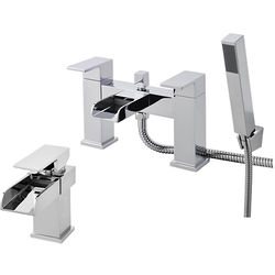 Nuie Strike Waterfall Basin & Bath Shower Mixer Tap Pack (Chrome).