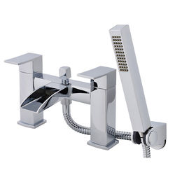 Nuie Moat Waterfall Bath Shower Mixer Tap With Kit (Chrome).