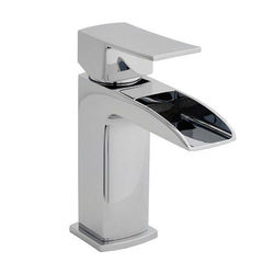Nuie Moat Waterfall Basin Mixer Tap With Push Button Waste (Chrome).