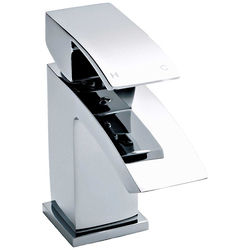 Nuie Vibe Mono Basin Mixer Tap With Push Button Waste (Chrome).