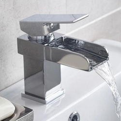 Nuie Strike Waterfall Basin Mixer Tap With Push Button Waste (Chrome).