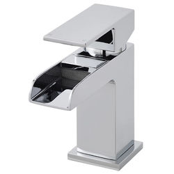 Nuie Strike Mini Waterfall Basin Mixer Tap With Push Button Waste (Chrome).