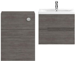HR Urban 600mm Wall Vanity With 600mm WC Unit & Basin 2 (Grey Avola).