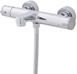 Thermostatic Wall Mounted Bath Shower Mixer Tap (Chrome).