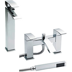 Nuie Vibe Bath Shower Mixer & High Rise Basin Tap Pack (Chrome).