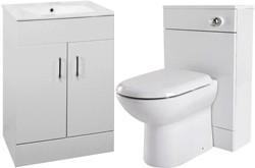 Premier Cardinal 600mm Vanity Unit Suite With BTW Unit, Pan & Seat (White).