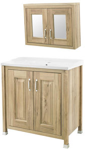 Old London Furniture 800mm Vanity & Mirror Cabinet Pack (Walnut).
