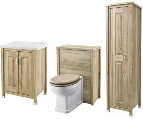 Old London Furniture 600mm Vanity, 600mm WC & Tall Unit (Walnut).