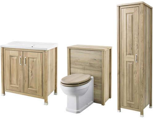 Old London Furniture 800mm Vanity, 600mm WC & Tall Unit (Walnut).