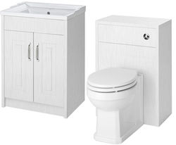 Old London York 600mm Vanity Unit & 500mm WC Unit Pack (White).