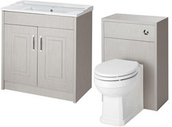 Old London York 800mm Vanity Unit & 500mm WC Unit Pack (Grey).