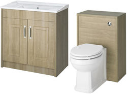 Old London York 800mm Vanity Unit & 500mm WC Unit Pack (Oak).