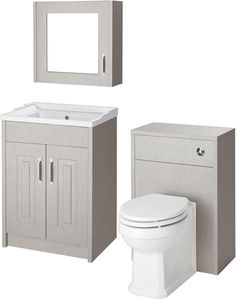 Old London York 600mm Vanity, 500mm WC Unit & Mirror Cabinet Pack (Grey).