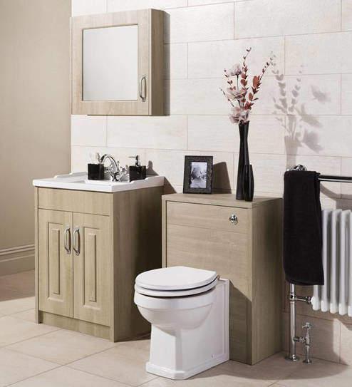 Old London York 600mm Vanity, 500mm WC Unit & Mirror Cabinet Pack (Oak).