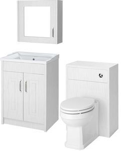 Old London York 600mm Vanity, 500mm WC Unit & Mirror Cabinet Pack (White).