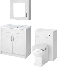 Old London York 800mm Vanity, 500mm WC Unit & Mirror Cabinet Pack (White).