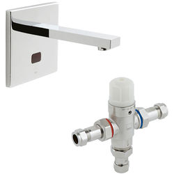 Vado I-Tech Infra-Red Wall Mounted Basin Tap & In-Line Thermostatic Valve.