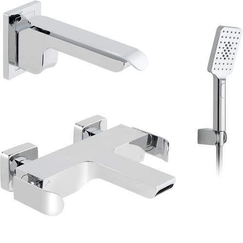 Vado Kovera Wall Mounted Bath Shower Mixer & Basin Tap Pack (Chrome).