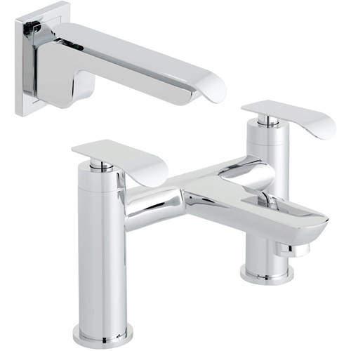 Vado Kovera Bath Filler Tap & Wall Mounted Basin Mixer Tap Pack (Chrome).