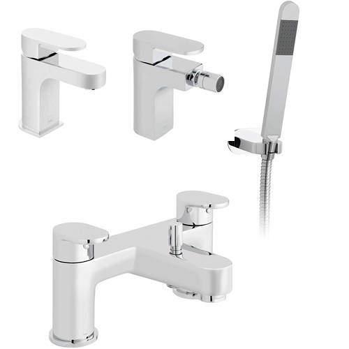Vado Life Mono Basin, Bidet & Bath Shower Mixer Taps Pack (Chrome).
