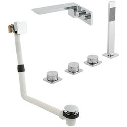 Vado Omika 4 Hole Bath Shower Mixer Tap With Bath Filler Waste & Basin Tap.
