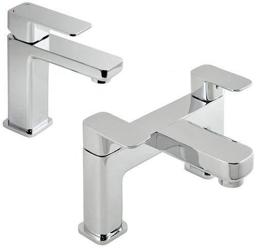 Vado Phase Basin Mixer & Bath Filler Taps Pack (Chrome).