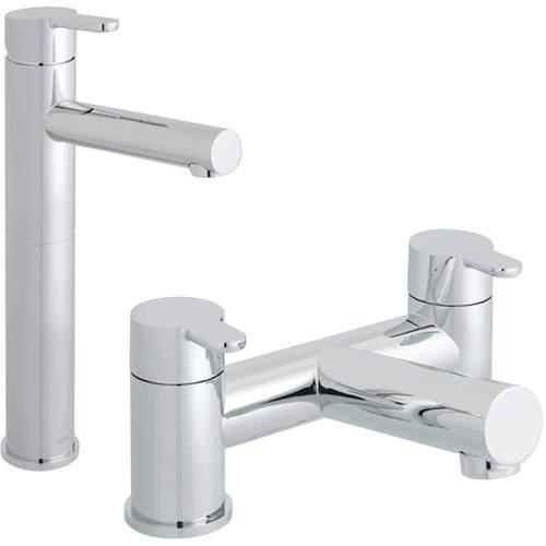 Vado Sense Extended Basin & Bath Filler Taps Pack (Chrome).