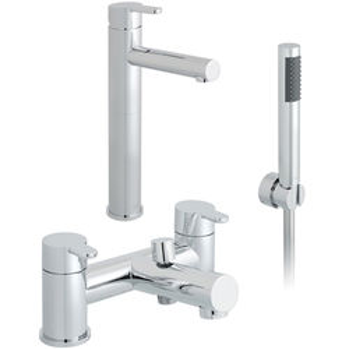 Vado Sense Extended Basin & Bath Shower Mixer Taps Pack (Chrome).