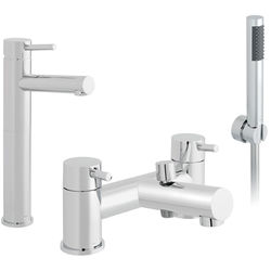 Vado Zoo Extended Basin & Bath Shower Mixer Tap Pack (Chrome).