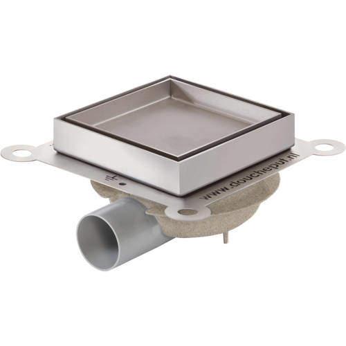 VDB Tile Drains Shower Tile Drain 146x146mm (ABS, Stainless Steel Frame).
