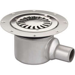 VDB Vinyl Drains Shower Drain With 50mm Horizontal Outlet (250mm, S Steel).