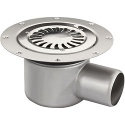 VDB Vinyl Drains Shower Drain With 75mm Horizontal Outlet (250mm, S Steel).
