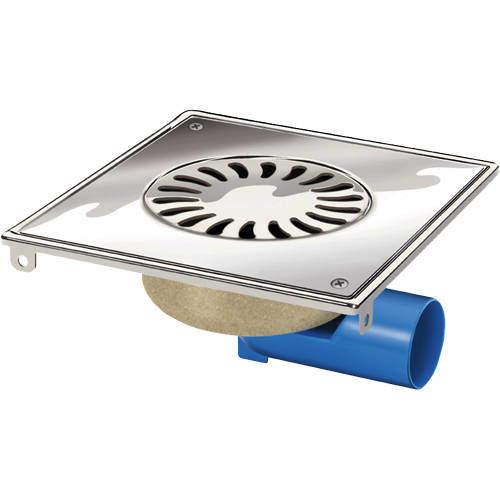 VDB Shower Drains Steel Shower Drain 200x200mm (Screw Down Grate).