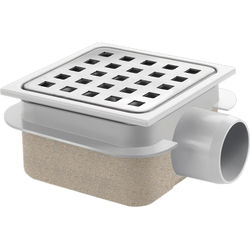 VDB Shower Drains ABS Plastic Shower Drain 100x100mm (Steel Grate).