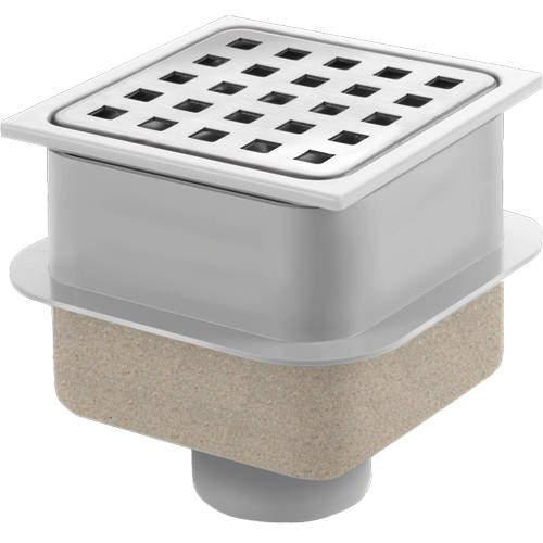 VDB Shower Drains ABS Plastic Shower Drain 100x100mm (Steel Grate).
