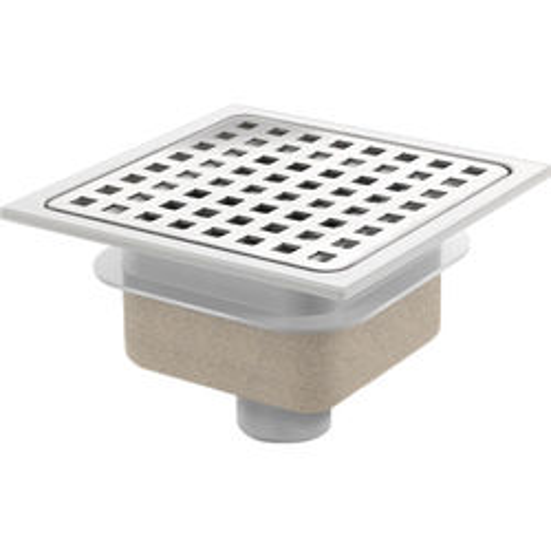 VDB Shower Drains ABS Plastic Shower Drain 150x150mm (Steel Grate).