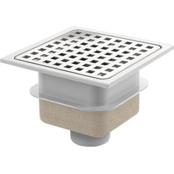 VDB Shower Drains ABS Plastic Shower Drain 150x150mm (Steel Grate).