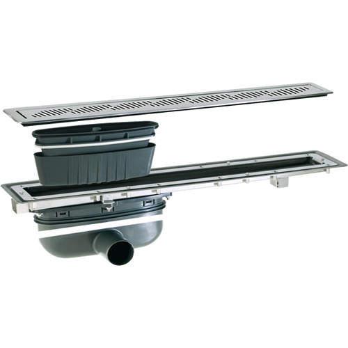 VDB Vinyl Drains Shower Channel Drain (800x100mm, Stainless Steel Grating).