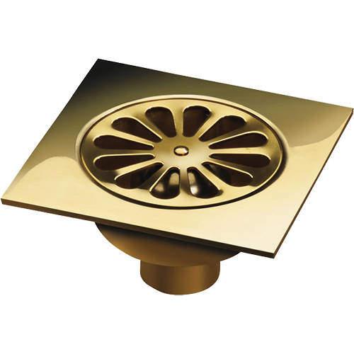 VDB Shower Drains Shower Drain 150x150mm (Polished Brass).