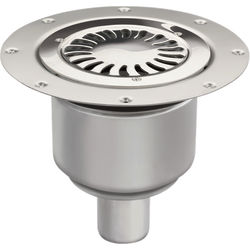 VDB Vinyl Drains Shower Drain With 50mm Vertical Outlet (250mm, S Steel).