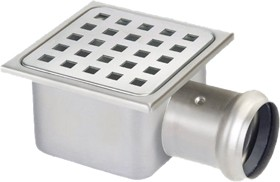 Waterworld Stainless Steel Gully With Side Outlet. Low Profile.105x105x60mm