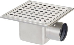 Waterworld Stainless Steel Gully With Side Outlet. Low Profile.150x150x60mm