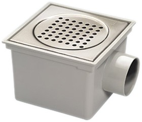 Waterworld Outdoor Gully With Stainless Steel Grate & 3 Inch Side Outlet. 200mm.