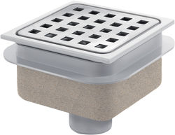 Waterworld Square Plastic Shower Gully With Bottom Outlet (100x100).