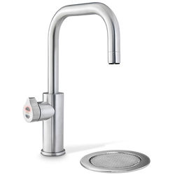 Zip Cube Design Filtered Boiling Water Tap & Font (Brushed Chrome).