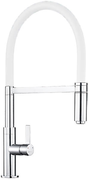 Additional image for Spirale Single Lever Rinser Kitchen Tap (Chrome & White).