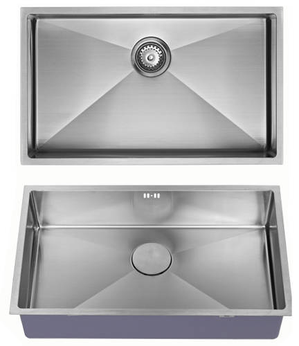 Additional image for Undermounted Kitchen Sink With Plumbing Kit (Satin, 700x400mm).