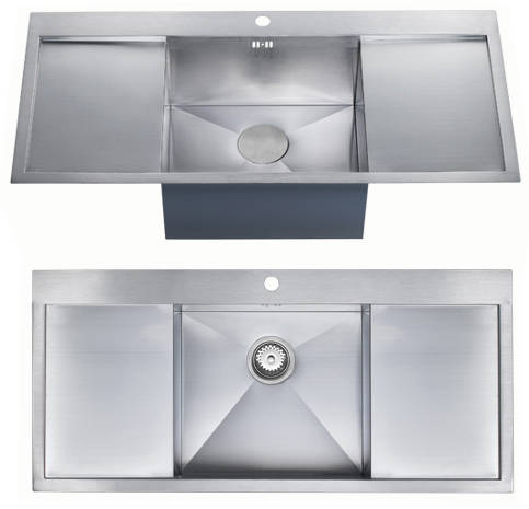 Additional image for Overmounted Inset Kitchen Sink With Drainers (Satin, 1100x510mm).