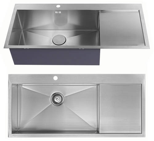 Additional image for Overmounted Kitchen Sink, Right Hand Drainer (Satin, 1100x510).